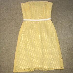 Adorable yellow eyelet strapless dress